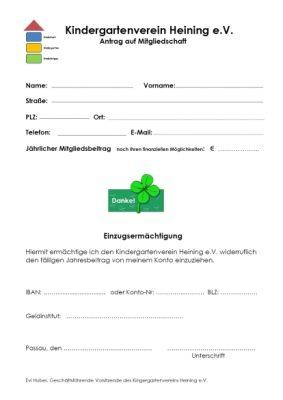 Bild des Anmeldeformulars für den Förderverein