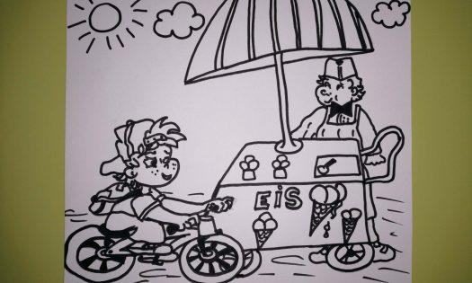 Fahrradfahrer und Eisverkäufer