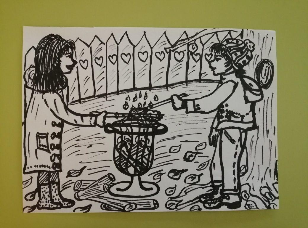 Kinder beim Stockbrot grillen