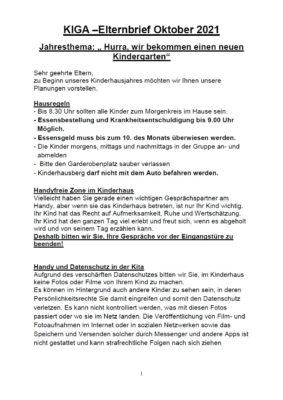 1. Seite Elternbrief Kindergarten